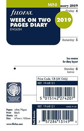 Mini Week On One Page Diary English 2018 Diary Refills Filofax
