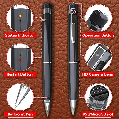 Hidden Spy Camera Pen 1080p | Nanny Camera Spy Pen Full HD Loop Recording or Picture Taking | Wireless Hidden Security Cam with Wide Angle Lens, Discrete Rechargeable