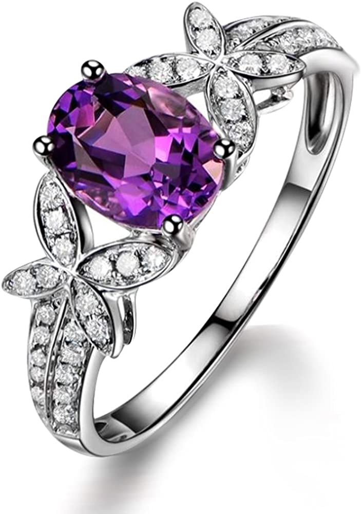 Único Moda 1.5ct Brasilian Amatista Piedra preciosa Real Diamante 14K Oro blanco Compromiso Boda Promesa Anillo para Mujer