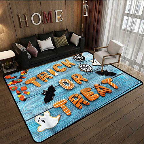 Non-Slip Rug Halloween Gingerbread Cookies Table Anti-Slip Doormat Footpad Machine Washable 4'7