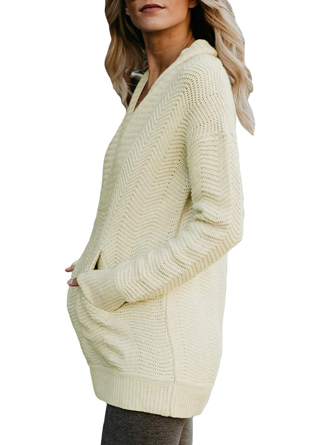 LOSRLY Womens V Neck Fold Over Collar Pullover Sweaters with Kangaroo Pocket