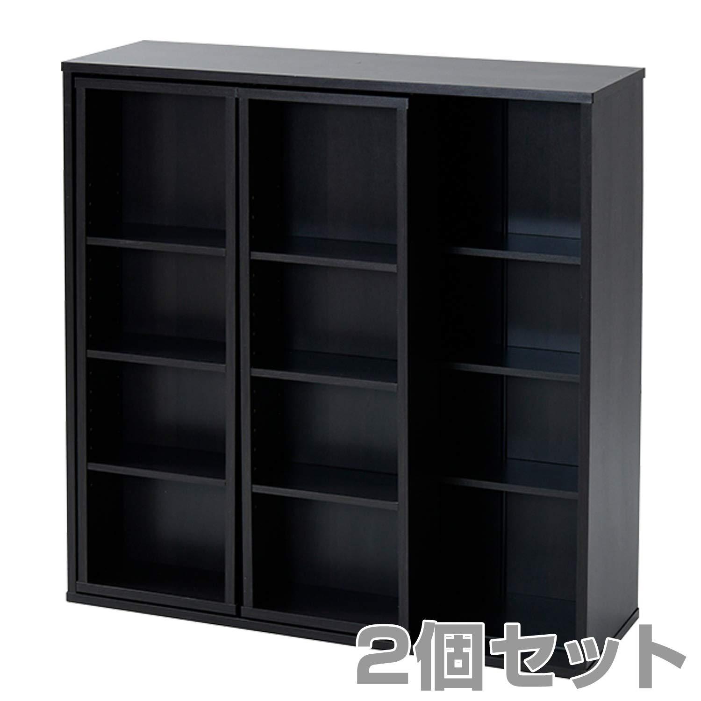 山善(YAMAZEN) 2個セット 本棚 おしゃれ スライド本棚 幅90 CRSS-9090(BK)*2 ブラック B07H8SFSL2