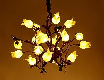 Wofeide Lustre Tulipe Verre Ombre Laiton Verre Métallique Style