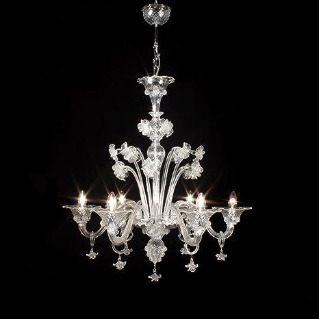 Floral lámpara de cristal de Murano 6 luces cristal: Amazon ...