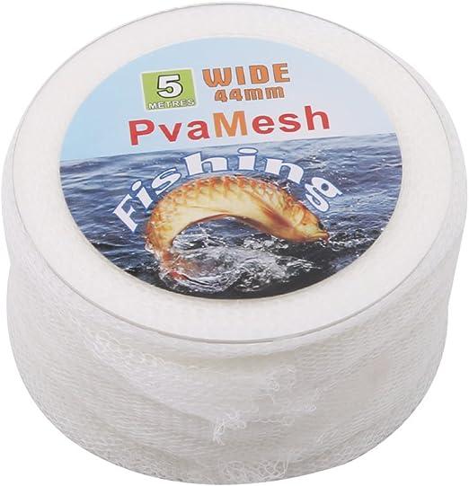 37mm*5m White Pinhan Filet de p/êche avec tuba App/ât Accessoires de p/êche PVA soluble dans leau Net Squid P/êche Feeder universel Poisson App/ât Sac filet soluble dans leau Bobine Package