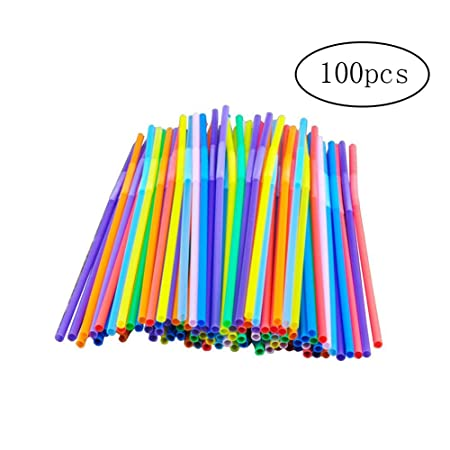 Yigo 100 piezas de plástico pajas coloridas bebidas pajas ...