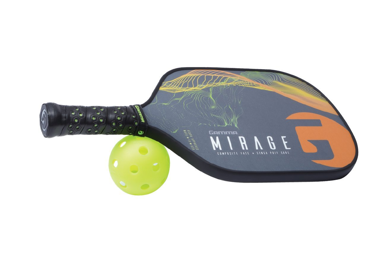 Gamma Mirage Composite Pickleball Paddle: Pickle Ball Paddles for Indoor & Outdoor Play - USAPA Approved Racquet for Adults & Kids - Orange/Green by Gamma (Image #7)