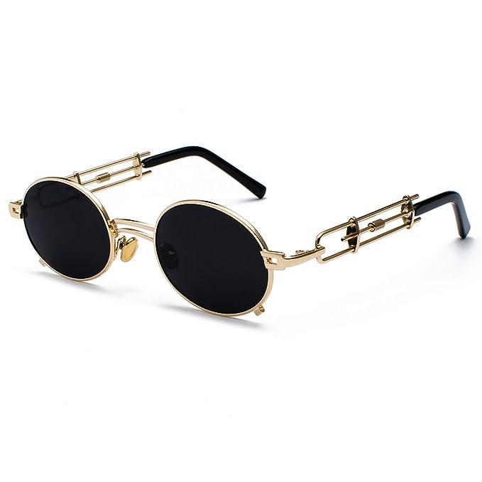 be6fba93186c0 Amazon.com  retro steampunk sunglasses men round vintage metal frame ...