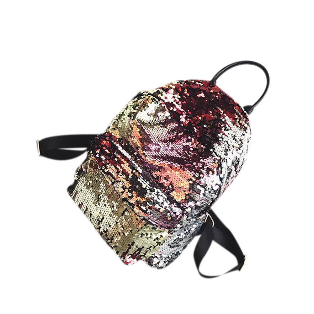 ShiningLove Women Fashion Sequin Backpack Pure Color Casual Street Backpack Gold