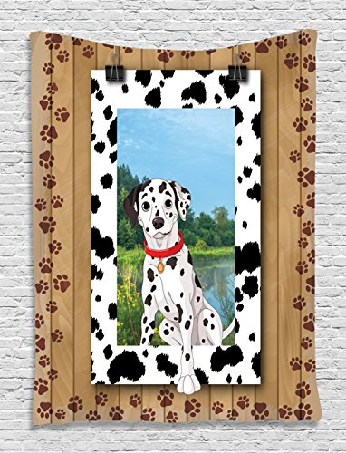 Cute Young Dalmatian Dog Pet Doggy Collar Puppy Paws Footprint Rustic Wooden Frame Digital Clip Art dogs Lover Home Decor Tapestry Wall Hanging Living Room Bedroom Dorm Decor, Black White Blue Green