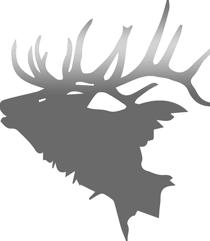 Usclifestyle Hunting Elk Head (Metallic Silver) (Set Of 2) Premium Waterproof Vinyl Decal Stickers For Laptop Macbook Phone Tablet Helmet Car Window Bumper Mug Tuber Cup Door Wall Decoration