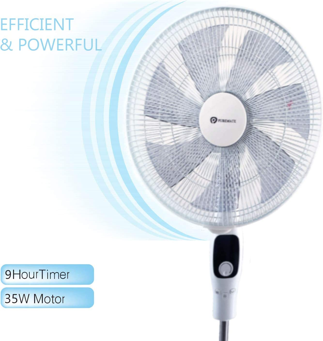 15 Speed Settings Stand fan with Adjustable Height-16 inch Oscillating fan and Remote Control 35 Watts DC Motor PureMate Pedestal Fan with 7 Blades
