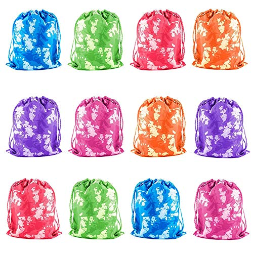Tytroy Tie-Dyed Camouflage Drawstring Party Favor Tote Pouch Bags Activities Bag (12 pc) ()