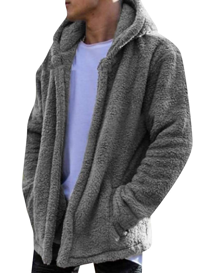 Comaba Mens Slim Casual Fuzzy Long Sleeve Jersey Jacket with Hood