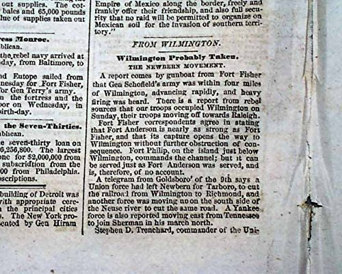 FORT ANDERSON Battle of Wilmington NC North Carolina 1865 Civil War Newspaper