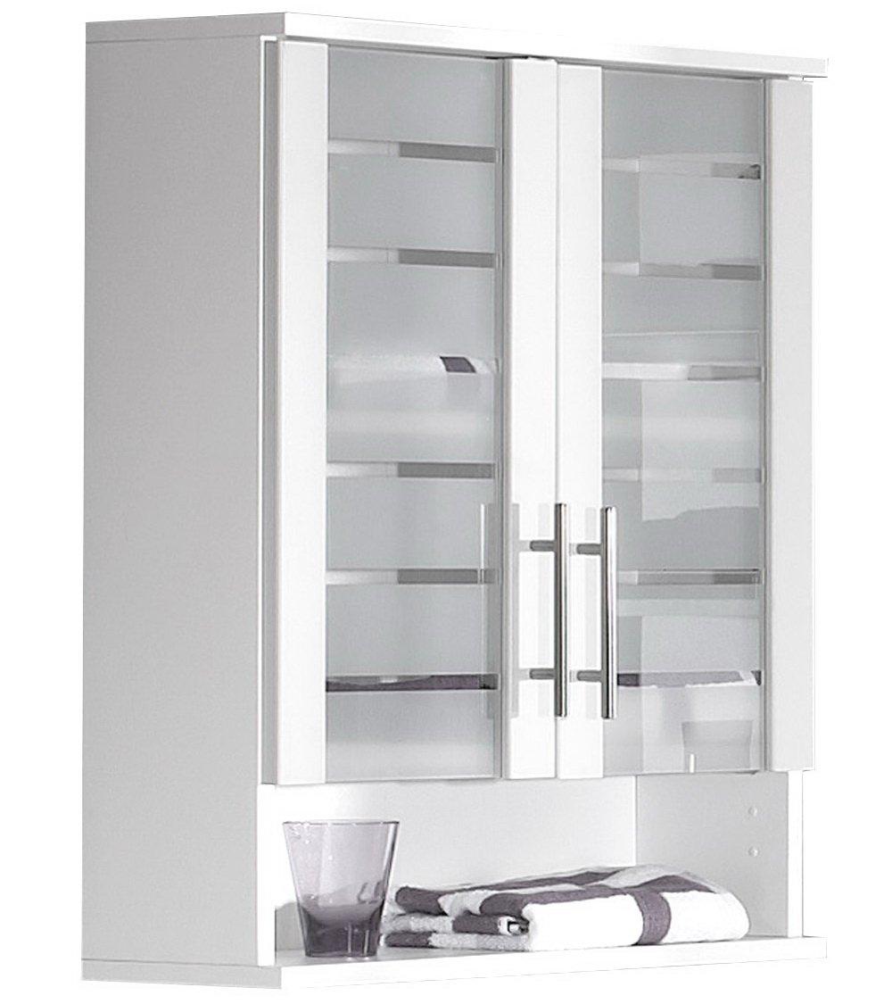 Lifestyle4living Hängeschrank, Oberschrank, Badschrank, Korpus und Fronten in weiß mit 2 Türen, 1 Nische und 1 Einlegeboden, Maße  B H T ca. 60 70 20,5 cm