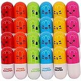 Bokit 60pcs/lot Vitamin Pen, Ballpoint Pen, Vitamin Pill, Novelty Pen, Size12x2.4cm, Gift Pen,multicolor
