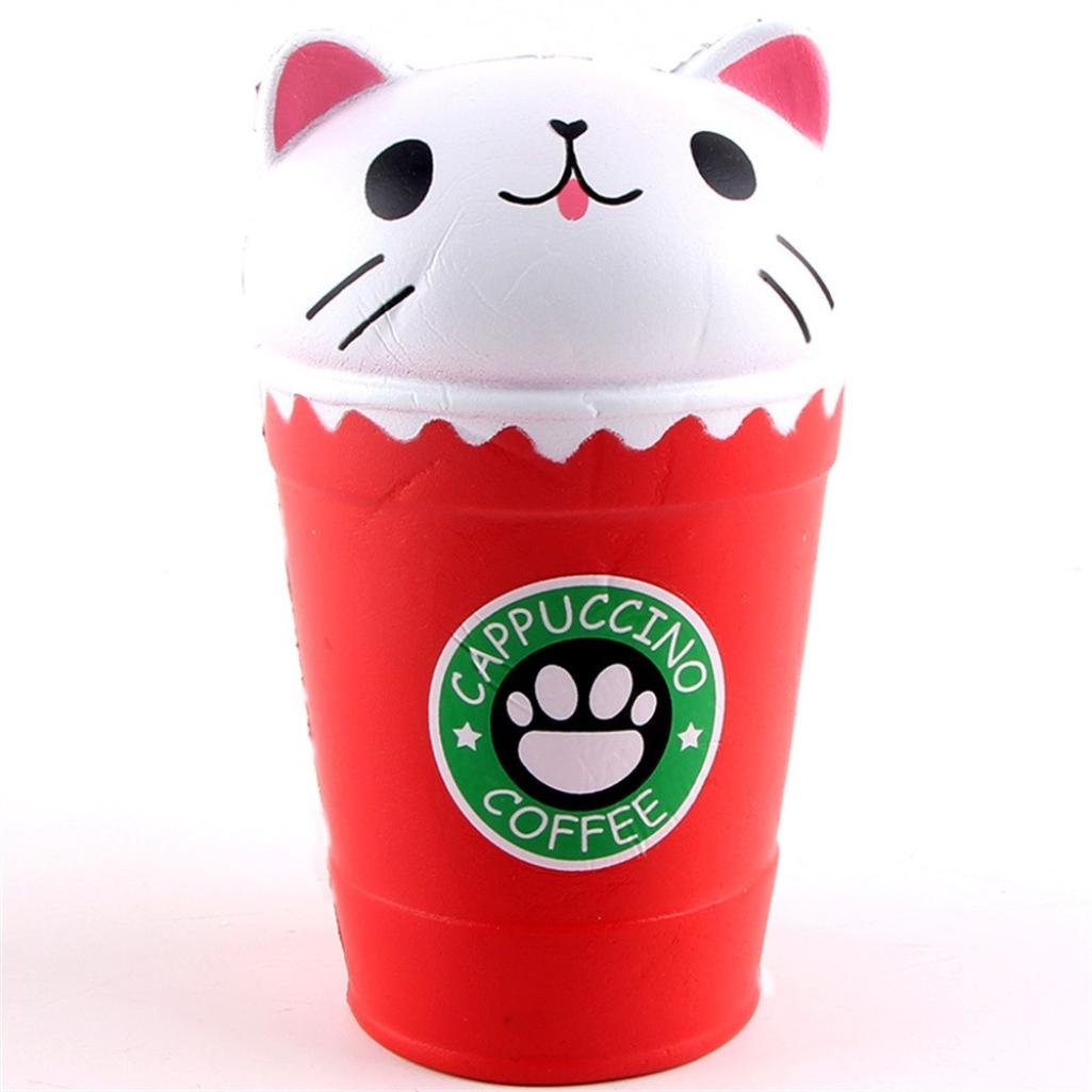 Cloudro Squishies Slow Rising Toy,Squishies Jumbo Scented Kawaii Animal Squishy for Boys Girls Party Gift Stress Reliever Toy,Cute Coffee Cup Cat (Red)