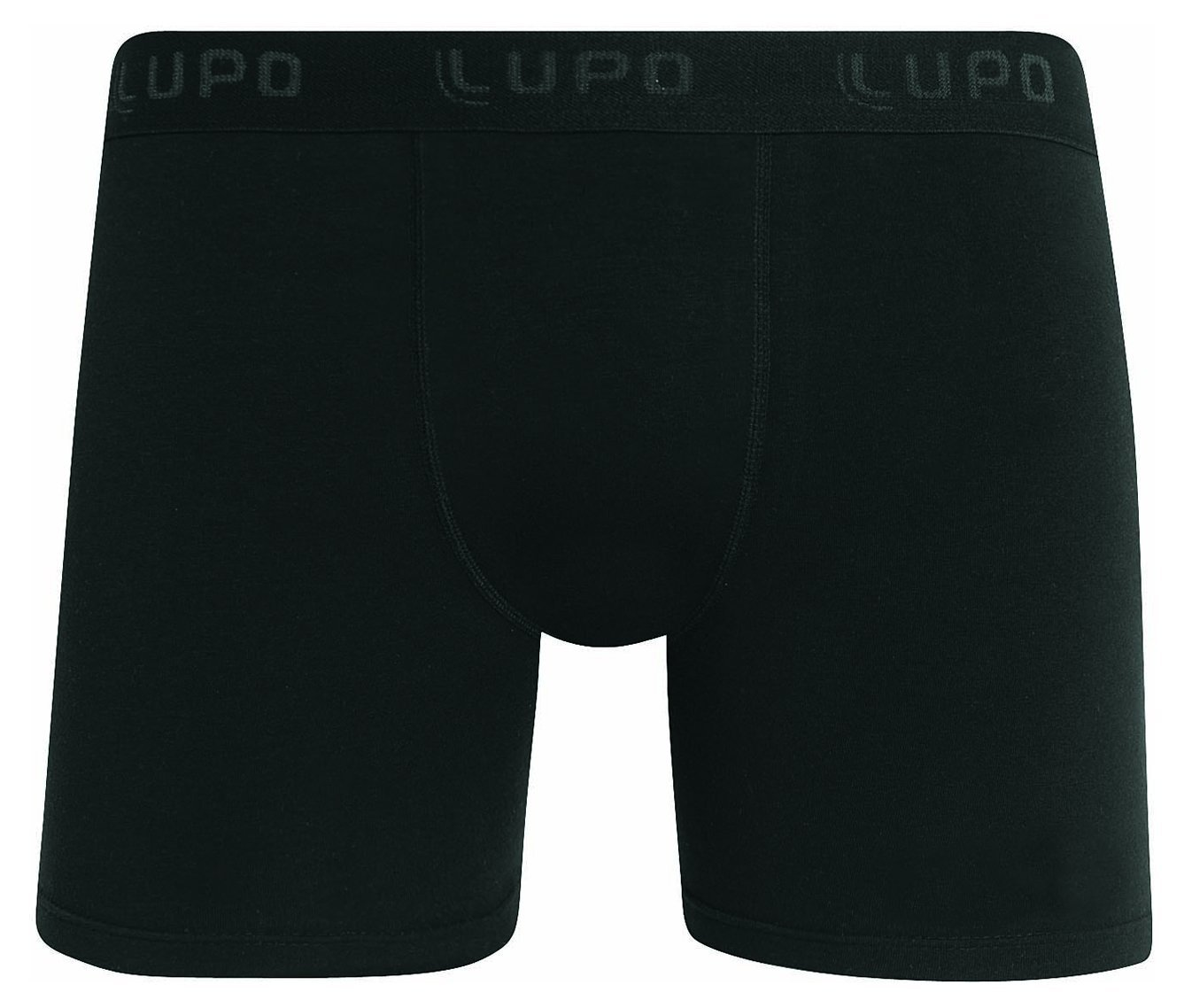 Lupo Men's Essential Stretch Cotton Boxer Brief Underwear (Pack of 3), Black, Large by Lupo