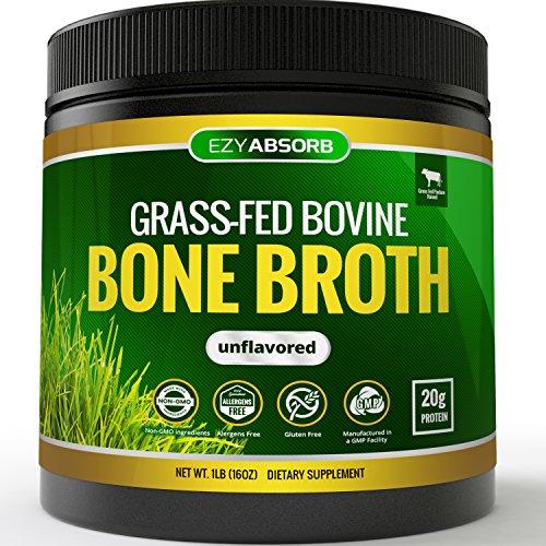 EzyAbsorb Bone Broth Protein Powder, 445g/15.7oz 20 Servings - Certified Paleo-Friendly - Natural Non-GMO Beef, Gluten Free Unflavored (Grass-Fed)