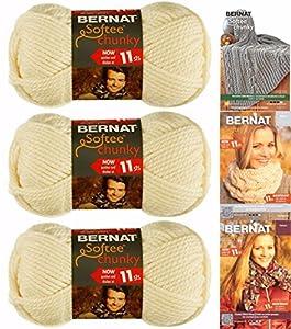 Bernat Softee Chunky Yarn, Super Bulky #6, 3 Skeins, Natural
