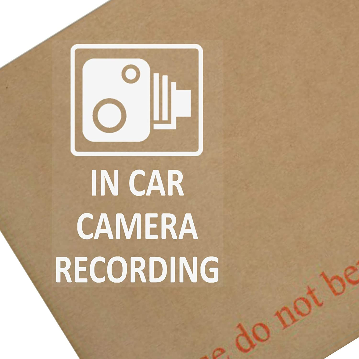 Platinum Place 4 x EXTERNAL In Car Camera Recording CCTV Sticker-60x87mm-WHITE onto CLEAR-Car,Vehicle,Van,Lorry,Truck,Taxi,Bus,Minicab,Cab,Safety,Security