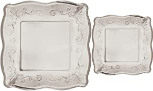 Scalloped Embossed Square Premium Paper Plates: Bundle Includes Dinner Plates and Appetizer/Dessert Plates for 8 Guests (Silver)