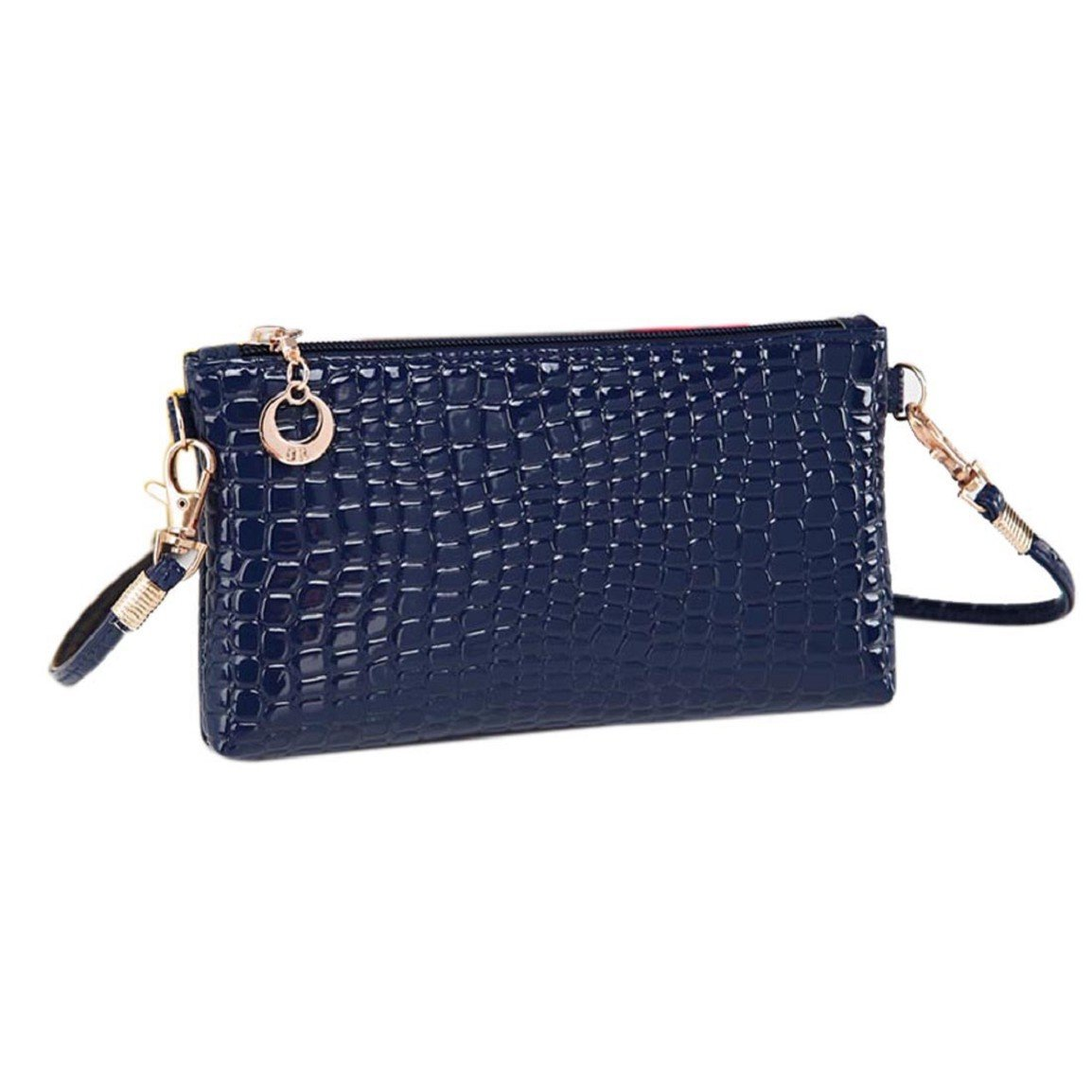 Willtoo(TM) Women Crocodile Leather Clutch Messenger Crossbody Shoulder Handbag(Blue)