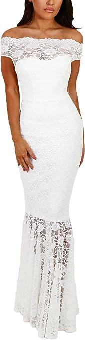 Womens Sexy Off Shoulder Bardot Lace Maxi Dress