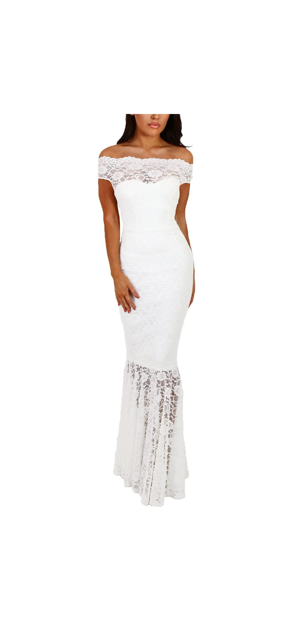 Womens Sexy Off Shoulder Bardot Lace Evening Gown Maxi