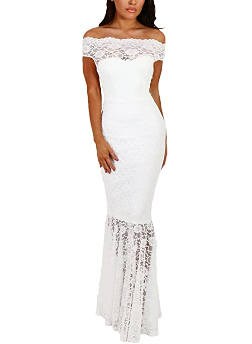 Review Elapsy Womens Sexy Off Shoulder Bardot Lace Evening Gown Fishtail Maxi Dress