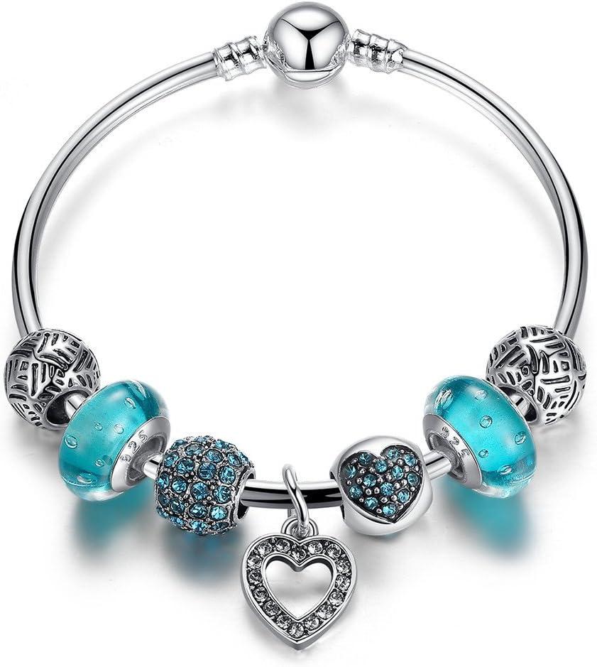 Pulseras Charm Azul Abalorio Murano Cristal Vidrio Perlas de Chapado plata con Cadena de Seguridad Regalos de mujeres19 centimetres