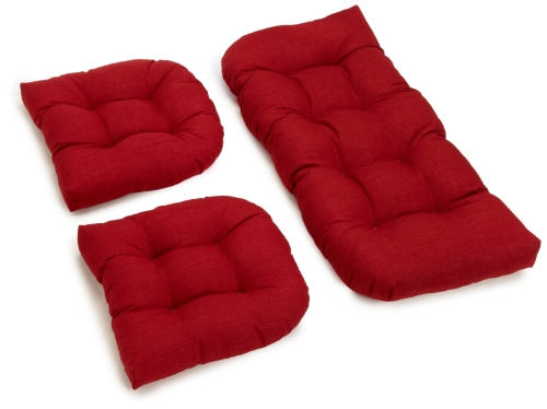 Blazing Needles Outdoor Spun Poly All Weather UV Resistant Settee Group Cushions, Paprika, Set of 3