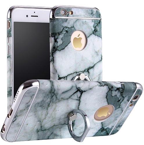 iPhone 6/6S Funda,PC protección Case Sorporte con Rotatorio Soporte de Anillo de Agarre Caja de teléfono de soporte de anillo de mármol Multi-Funcional Cubierta Caso para iphone 6/6S (color 5)
