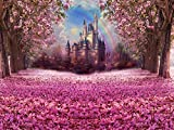 HUAYI 6.5x5ft Photography Backdrops Photo Booth Backdrop Fairy Tale Castle Beautiful Pink Woods Children Princess Girls Pink Flower Floral Backdground birthay banner wall (W-314)