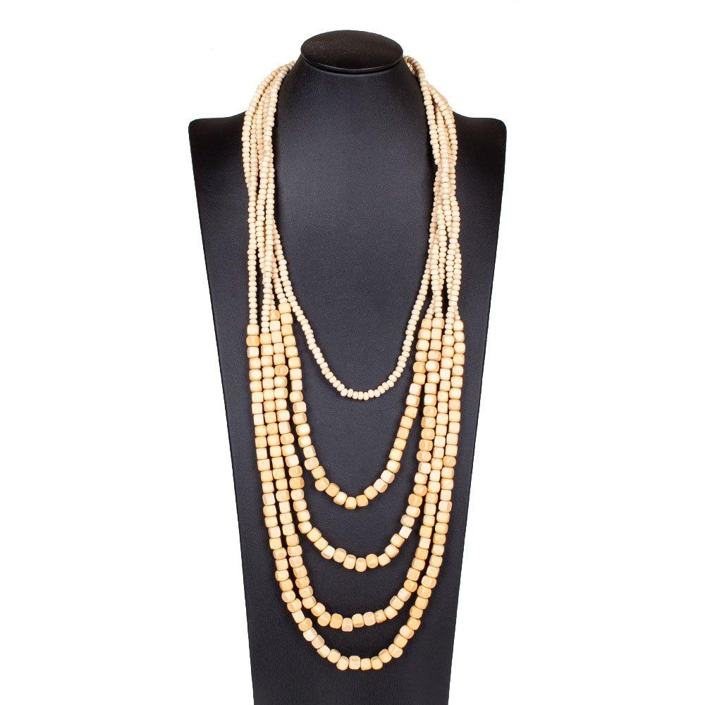 Nawakul Ivory Handmade Wooden Multi Layered Square Beaded Long Layer Bead Opera Necklace