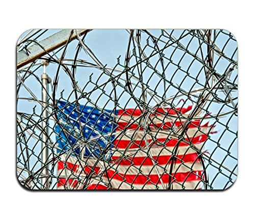 Dick Sidney door mat American Flag Barbed Wire Fence insole non-slip insole non-woven mat indoor entrance carpet decoration ()
