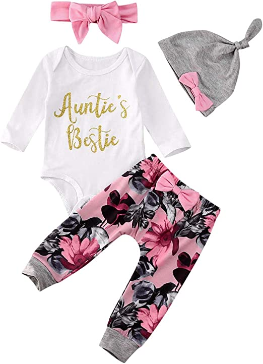 Bowanadacles Newborn Baby Girls Winter 4Pcs Outfit Daddy s Little Girl Long Sleeve Romper Pants hat Headband Clothes Set