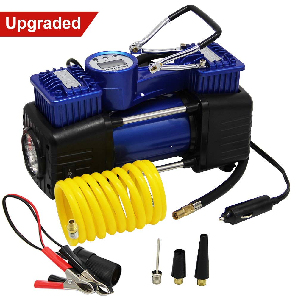 FORUP Dual Cylinder Air Compressor Pump, Heavy Duty Portable Air Pump, 150 PSI, LCD Backlit Digital Display, Auto 12V Tire Inflator for Car, Truck, RV, Bicycle and Other Inflatables (Dual Cylinder)