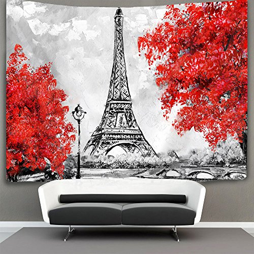 Oil Painting Paris European City Landscape France Eiffel Tower Wall Tapestry Hippie Art Tapestry Wall Hanging Home Decor Extra large tablecloths 40x60 inches For Bedroom Living Room Dorm Room