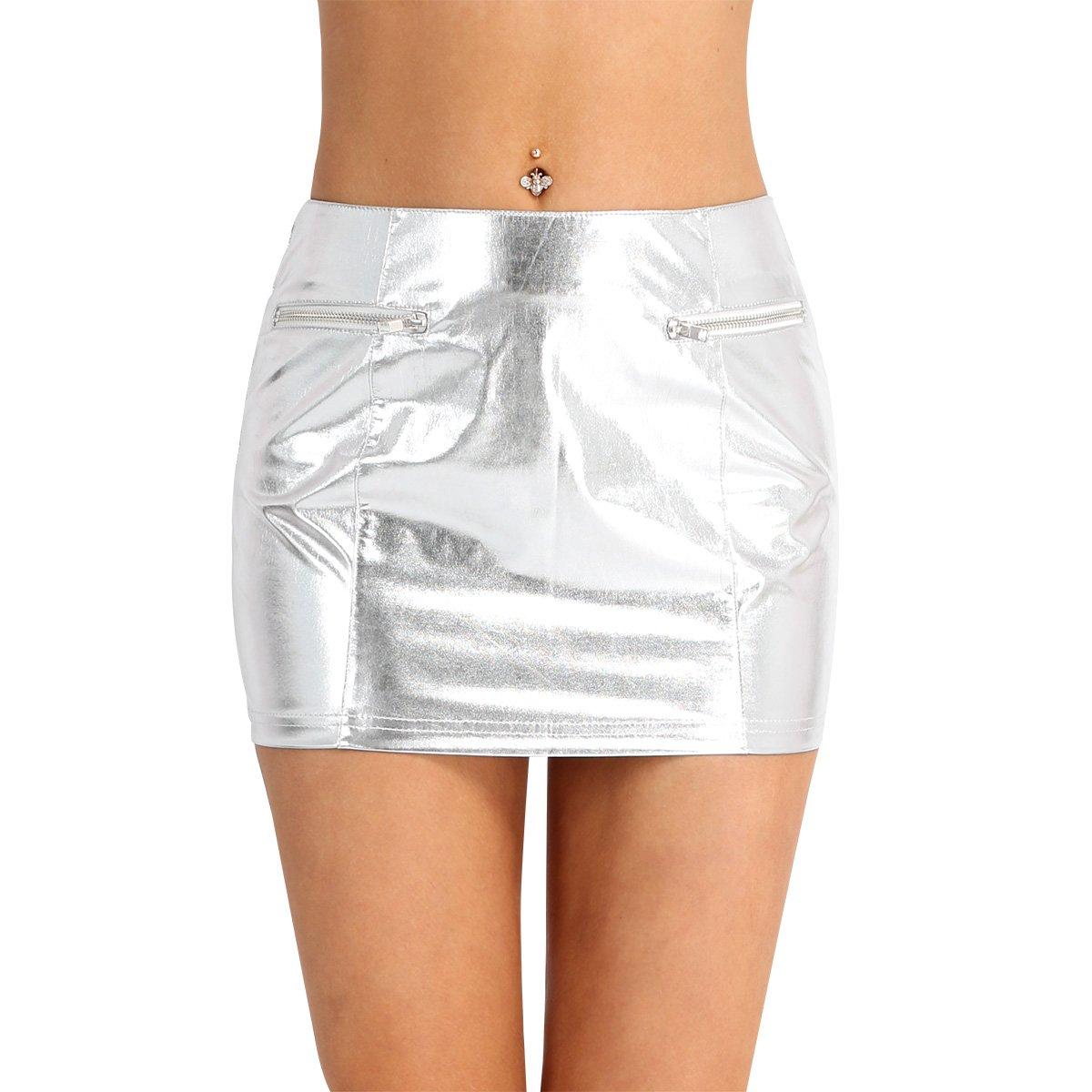 iiniim Women's Faux Leather Zipper Short Mini Skirt Night Club Dress Silver Fake Zipper Pockets L