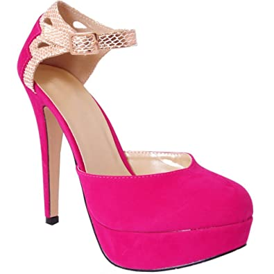 LADIES WOMENS FUCHSIA BRIGHT HOT PINK GOLD STRAPPY SANDALS PLATFORMS HIGH  HEELS STILETTO SHOES 3-8  Amazon.co.uk  Shoes   Bags 216219b86a
