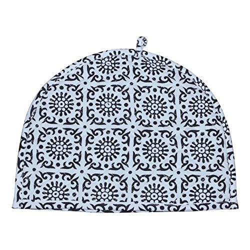 Teapot Cover - Indian Cotton Printed Tea Cozy Abstract TeaPot Décor Cover Traditional Tea Quilt Floral Warmer Home Decorative Tea Cozies Insulated Gift Ethnic Hand Block Printed Black and White Tea cozy For Teapot