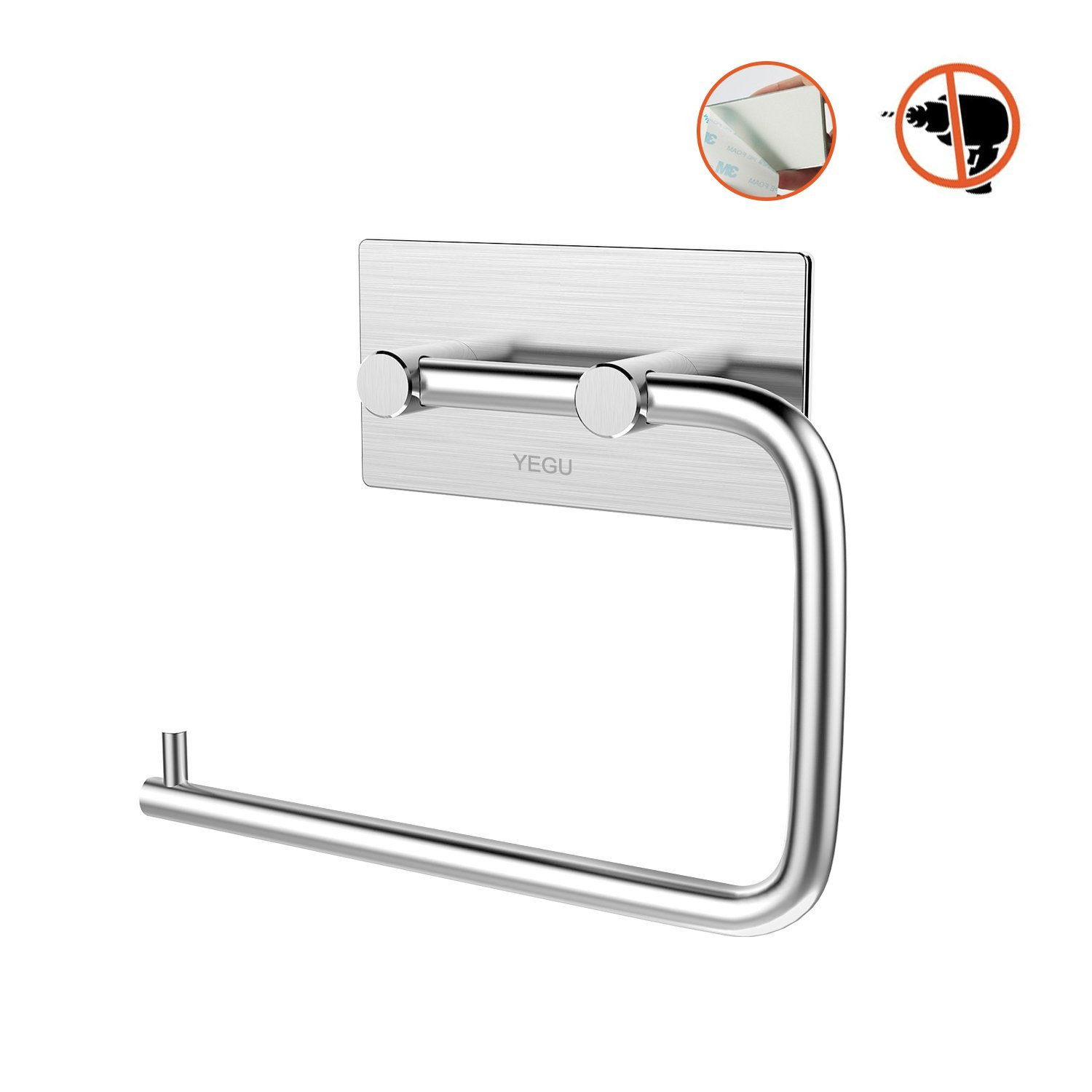 YEGU Self Adhesive Coat Hooks, Brushed Stainless Steel Towel Holder Wall Mounted Coat Rack Waterproof Oilproof Rustproof Heavy Duty Contemporary Style for Kitchen Bathrooms Lavatory Closets, 4 Pack