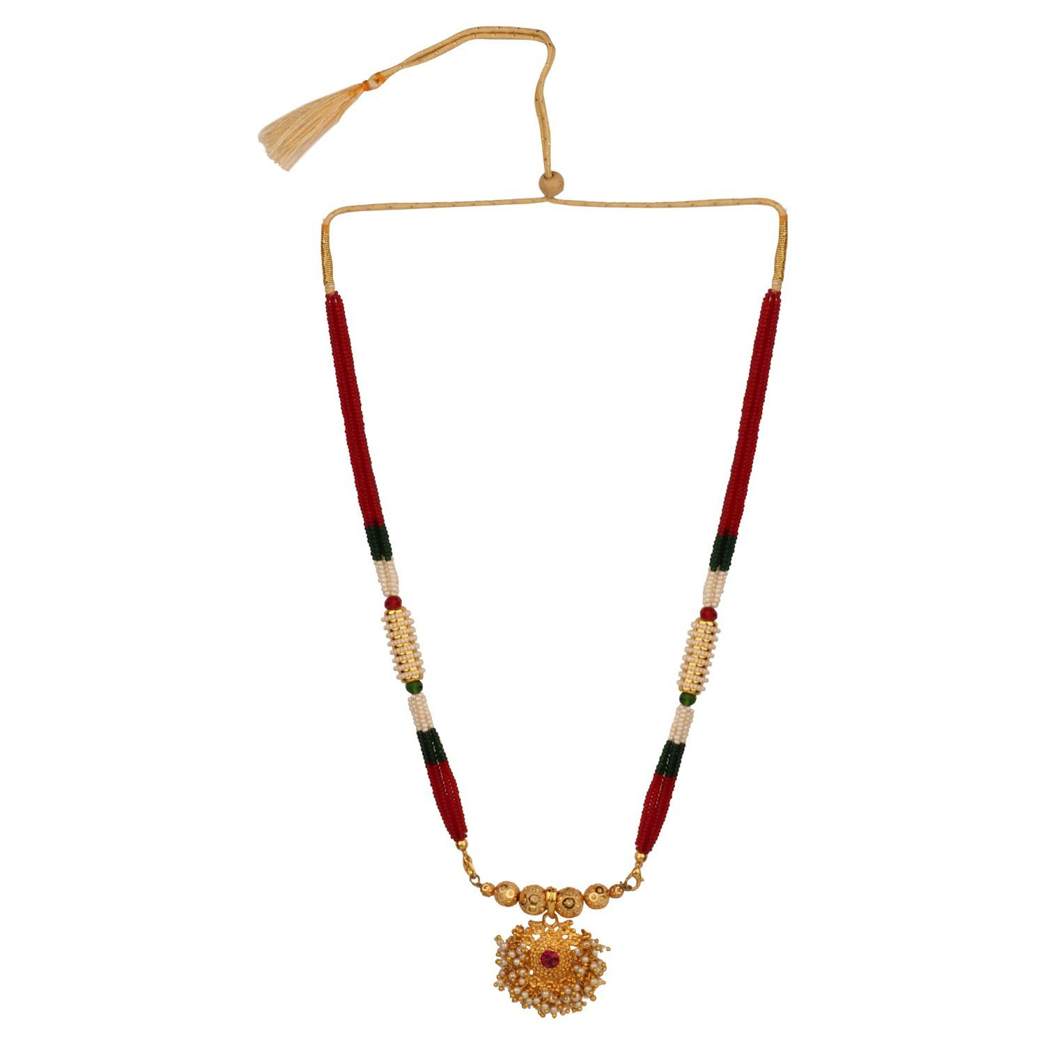 Efulgenz Indian Traditional 14 K Gold Plated Multicolor Beaded Pearl Temple Necklace Jewelry for Women Jaipur Art Jewellery MNT304