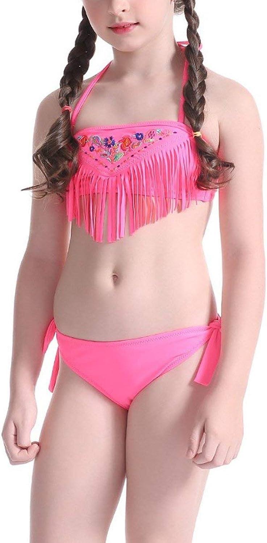 Kid Swimwear Tassel Girl Swimwear Beachwear Halter Bathing Suit Bandage Swimsuit