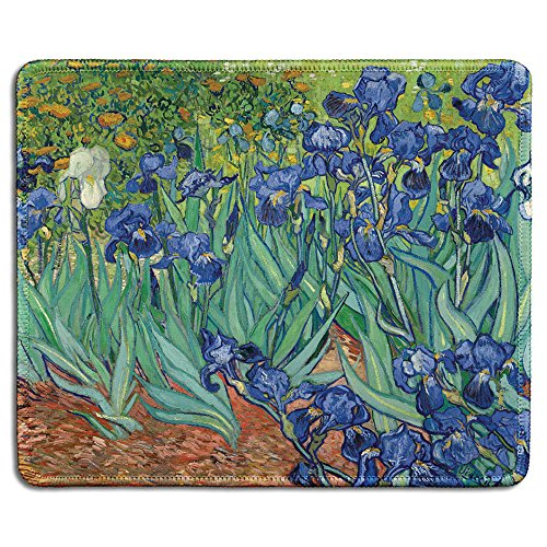 dealzEpic - Art Mousepad - Natural Rubber Mouse Pad with Famous Fine Art Painting of Irises Flowers 1889 by Vincent Van Gogh - Stitched Edges - 9.5x7.9 inches