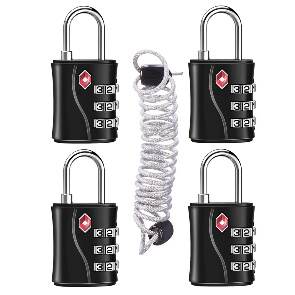 TSA Approved Luggage Locks 4 Pack with Flexible Cable (80cm), Suitcase Padlocks, TSA Locks for Travel, Small Combination Padlocks for Gym Lockers- Easy to Set 3 Digit (Black) by ZHEGE