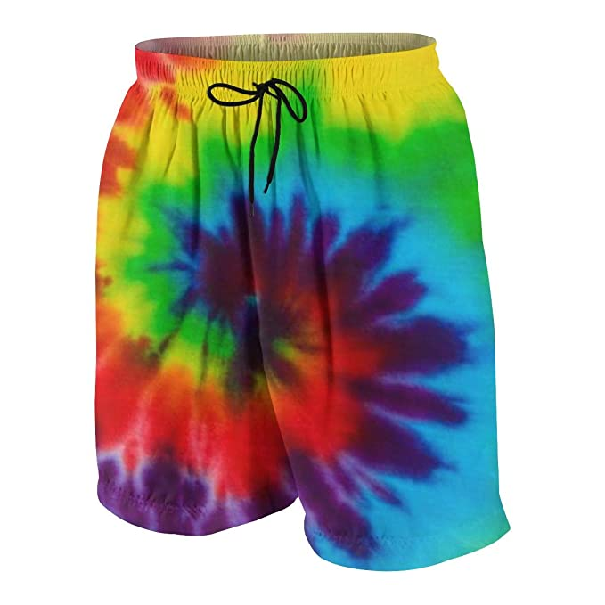 FullBo Tie-dye Backgrounds Rainbow Art Little Boys Short Swim Trunks Quick Dry Beach Shorts