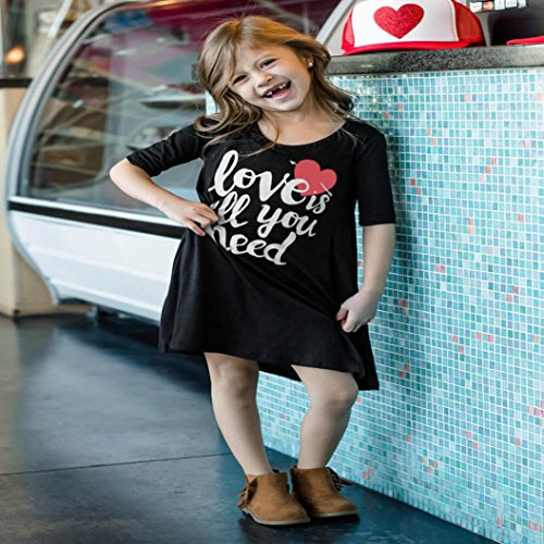 Upxiang Mutter amp  Tochter Kurzarm Kleid Love is all you need Bedrucktes  Casual Knielanges Kleid Family Outfits Clothes Schwarz Tochter A9AnRUPsG7 79d5aaa83e